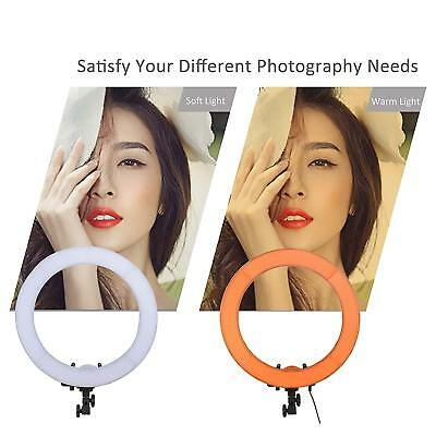 """New 18"""" LED SMD Dimmable Ring Light 5500K Continuous Lighting Video Light Kit US"""