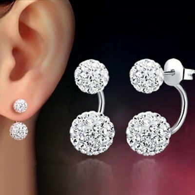 Charm Silver Double Beaded Round Crystal Ear Stud Earrings Womens Lady Jewellery