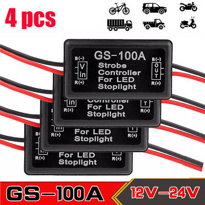 4Pcs Flash Strobe Controller Box Flasher Module for LED Brake Tail Stop Light US