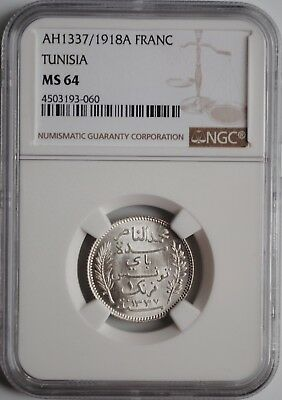 "Tunisia 1 franc 1918, NGC MS64, ""French protectorate (1890 - 1959)"""