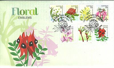 AUSTRALIA 2014 FLORAL EMBLEMS of Australia & States full set of 7 stamps on FDC