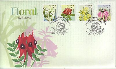 AUSTRALIA 2014 FLORAL EMBLEMS of Australia & States P&S set on FDC