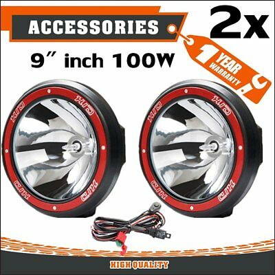 "Pair 9"" inch 100W HID Driving Lights Xenon Spotlight Offroad 4WD Truck UTE 12V #"