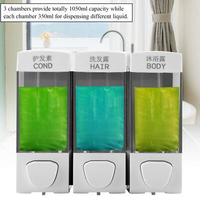 1050ML Wall Mounted 3-Chamber Liquid Lotion Shampoo Soap Dispenser Set Bathroom