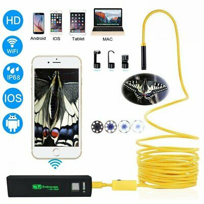 1200P WiFi Endoscope Borescope 8LED HD Inspection Camera Cam For Andriod iOS
