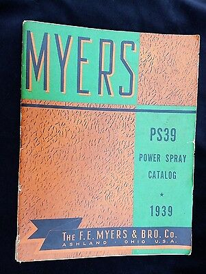 1939 MYERS Power Spray Catalog FE Myers & Brother Ashland Ohio Agriculture Crop