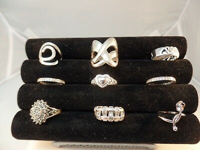 925 Sterling Silver Miscellaneous Rings Lot Of 9  Various Size  # S 1287