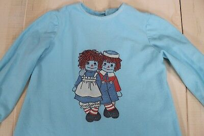 Vtg 60's Raggedy Ann and Andy Night Children's Gown Sleepwear with Ruffle Detail
