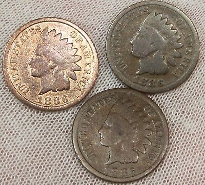 ( 3 )  1886 Type 2    Indian Head Cent 1c Circulated     #1226862SIHC