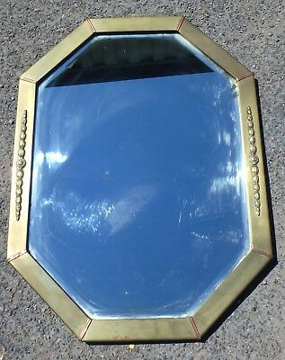 Edwardian antique Classical brass copper octagonal wall hall overmantel mirror