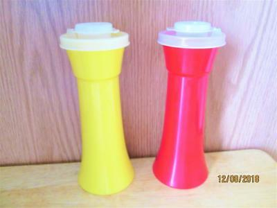 2 Vintage Rare Red & Yellow Tupperware Tall Salt Or Pepper Shakers With Cap