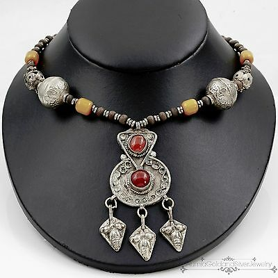 Antique Vintage Deco Sterling Silver Chinese Tibetan Amber Agate Wood Necklace