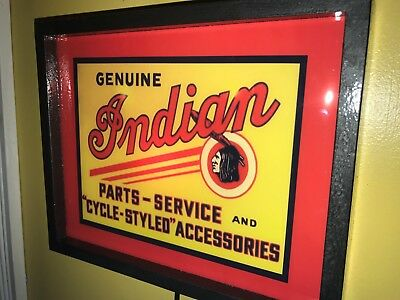 Indian Motorcycle Parts Service Garage Advertising Man Cave Lighted Sign