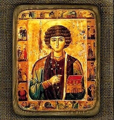 "Handmade copy ancient ORTHODOX ICON Saint Pantalelmon S.Panteleon 13L 6""x7"""