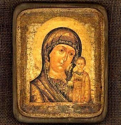 "Handmade copy ancient ORTHODOX ICON Mother of God Kazan 16L 6""x7"" Казанская"