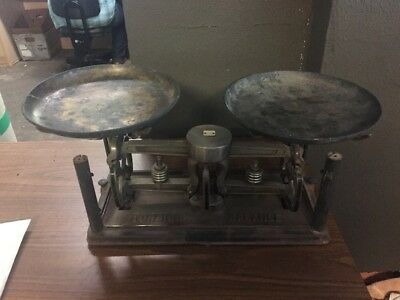 Vintage Torsion Balance Metal Scale With weights Pharmacy Scale
