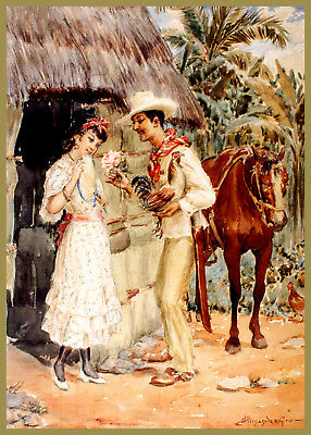 8012.Decoration Poster.Room design art.Wall decor.Romantic Painting.Country Love