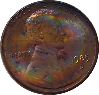 1985-D Lincoln Memorial Penny Rainbow Toning BU Condition - b x.xm