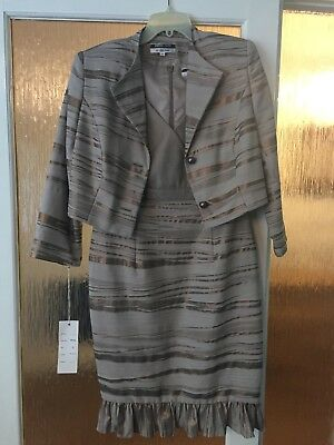 MOTHER OF THE BRIDE/GROOM DRESS AND JACKET SIZE 16 BROWN Veromia Dress Code