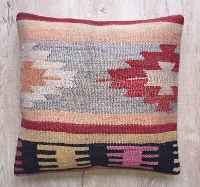 Decorative handmade pillow cover case from handwoven vintage kilim rug, 16x16
