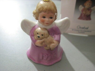 1996 Goebel ANGEL BELL ORNAMENT Magenta, Pink or Purple with Puppy in Box