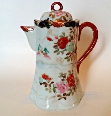 Hand Painted Chocolate Or Tea Pot - Roses And Blue River Ripples - Nippon Japan