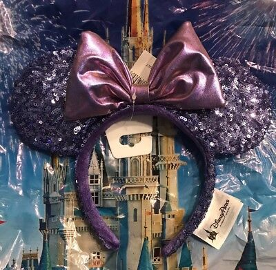 Disney Parks Purple Potion Iridescent Bow Sequin Minnie Ears Headband ADULT New