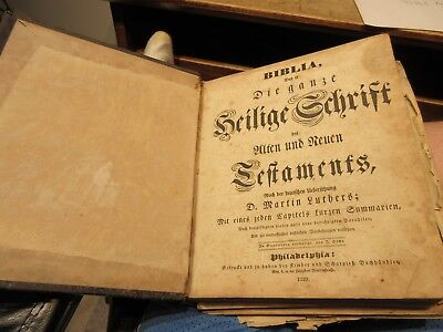 1829 Antique Old LICHTENWALTER Family Holy Bible Book Canton Ohio GERMAN Text