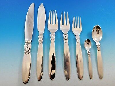 Cactus by Georg Jensen Danish Sterling Silver Flatware Set for 12 Service 92 Pcs