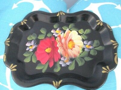 Vintage Hand Painted Yellow & Red Flowers Dresser Perfume Jewelry Tole Tray