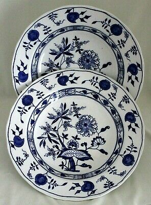 Wedgwood Pair Of Antique (Blue) Onion Pattern Extra Large Rim Soup Bowls England