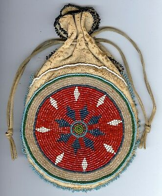 Sioux American Indian Antique Early 1900's Beaded Pouch