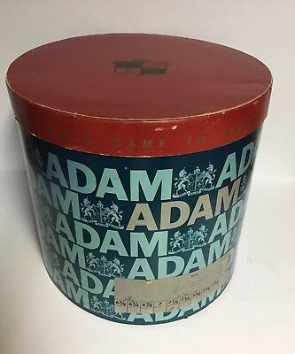 "Vtg LARGE Blue/Red Oval Cardboard Hat Box ~ ADAM ~""The First Name in Hats"""