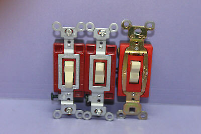 Lot of 3 Hubbell & PS Red Industrial Toggle Switch - Single-Pole - 20A - IVORY