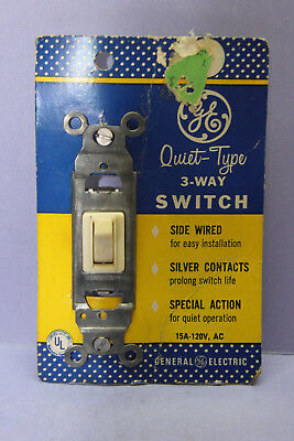 New GE 5943-21D Ivory 3-Way Quiet Toggle Switch w/ Silver Contacts - 120V 15A