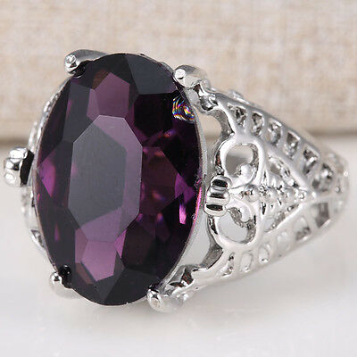 Huge Natural 6Ct Alexandrite Ring 925 Silver Wedding Engagement Size 6-10 Bridal
