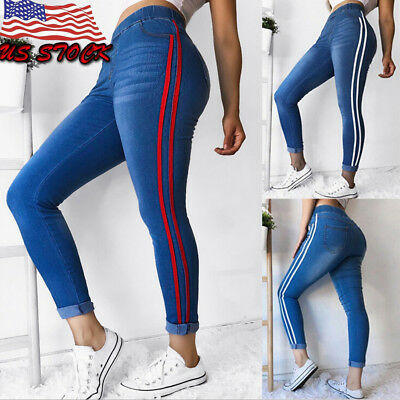Womens Skinny Jeggings Jeans Stretch Long Pencil Pants High Waisted Trousers US