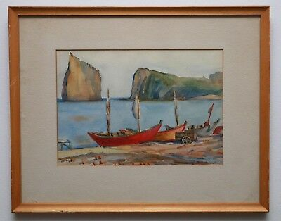 Original Doris L. Goodhue Watercolor Pierced Rock Quebec American Listed Artist