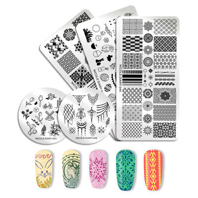 NICOLE DIARY Nail Art Stamping Plates Castle Geometry Manicure Image Templates