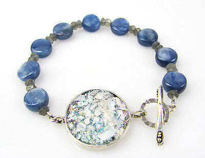 ANCIENT ROMAN GLASS AMORE BRACELET .925 Sterling Silver Kyanite Labradorite SALE