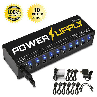 Donner 10 Isolated Output 9V 12V 18V Guitar Effect Pedal and Power Supply New