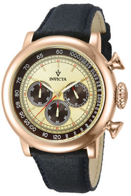 13060 Invicta Gent's Chrono 48MM SWISS Black Leather Strap Beige Dial Watch