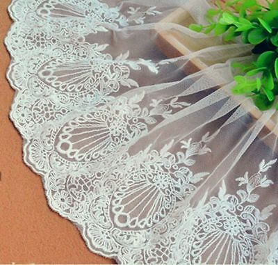 Sewing Craft Embroidered Tulle Lace Trim Edge Mesh Wedding Bridal Dress 23cm