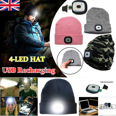 LED Beanie Hat USB Rechargeable Torch Light Cap Outdoors Camping Joggers Gift UK