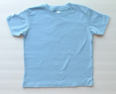 Toddler boys girls T-shirt 100% cotton, 3T, light blue color blank, solid,summer