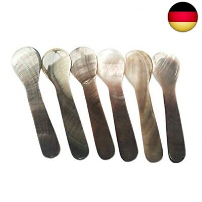 DUEBEL Set of 6 Mother of Pearl MOP 7x2cm Spoons for Caviar, Egg, Icecream, C...