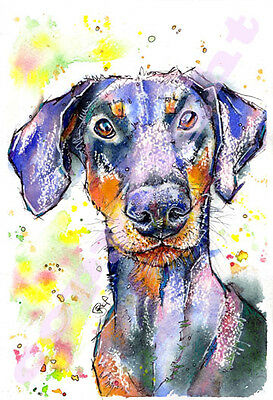 DOBERMAN PINSCHER PRINT from Original Watercolour DOG Painting Art by JOSIE P