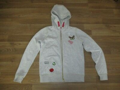 girls light grey zipped butterfly hoodie age 11
