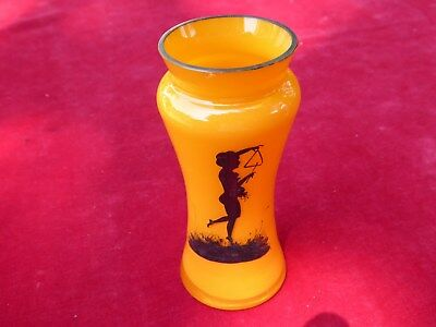 Bohemian Czech Orange Tango  Art Glass Vase 1930's Art Deco Nymph 4 1/2""