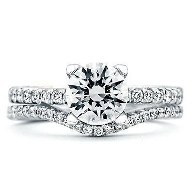 1.20 Ct Round Cut Diamond Womens Rings 14K Real White Gold Engagement Band Sets